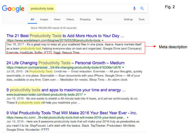 Blog Post SEO Keyword and Meta Description Example